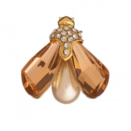 Brošňa Motýľ / Butterfly Light Peach Crystals with White Pearl