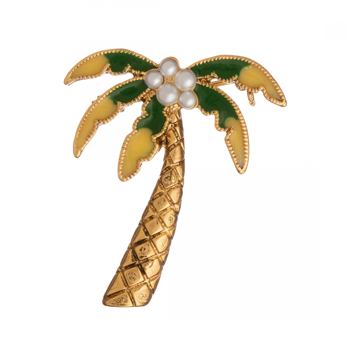 Brošňa Palma / Palm Tree Yellow - Green Colour with White Pearl