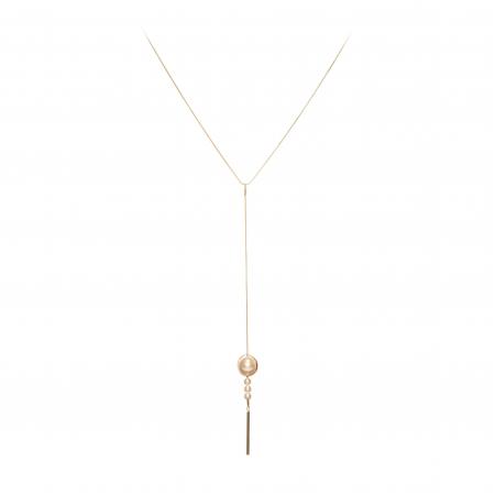 Náhrdelník Long Simple White Pearl Gold