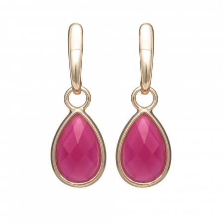 Náušnice Meghan Lady Like Drop Resin In Fuchsia Gold