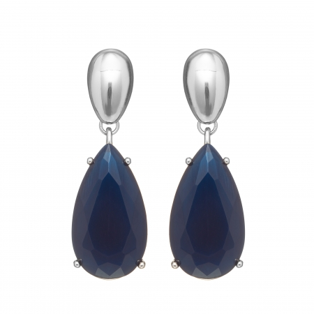 Náušnice Kate Spectacular Drop Resin Dark Blue Silver