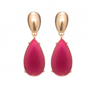 Náušnice Kate Spectacular Drop Resin Fuchsia Gold