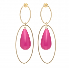 Náušnice Minimalistic Double Oval Drop Resin  Fuchsia Gold