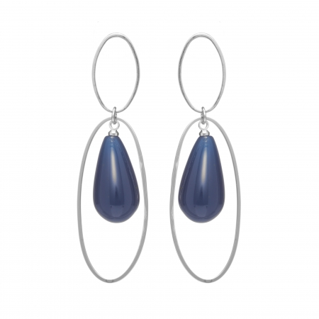 Náušnice Minimalistic  Double Oval Drop Resin Dark Blue Silver