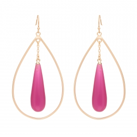 Náušnice Minimalistic Double Drop Fuchsia Resin Matt Gold