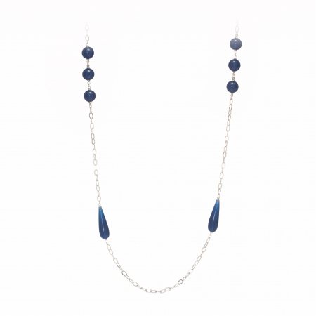 Náhrdelník Fine Exclusive Elegance Long Balls Dark Blue Silver