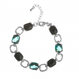 Náramok Fine Exclusive Elegance Resin Stones Green Silver