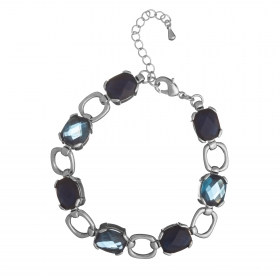 Náramok Fine Exclusive Elegance Resin Stones Dark Blue Silver