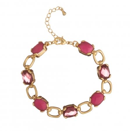 Náramok Fine Exclusive Elegance Resin Stones Fuchsia Gold