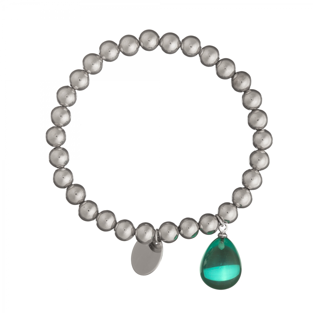 Náramok Fine Exclusive Elegance Minimalistic with Resin Drop Chain In Green Silver