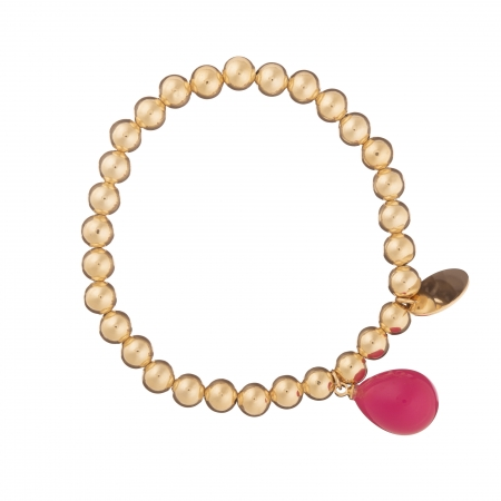 Náramok Fine Exclusive Elegance Minimalistic with Resin Drop Chain in Fuchsia Gold
