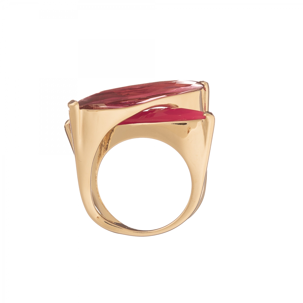 Prsteň Fine Exclusive Elegance Resin Stones in Fuchsia Gold