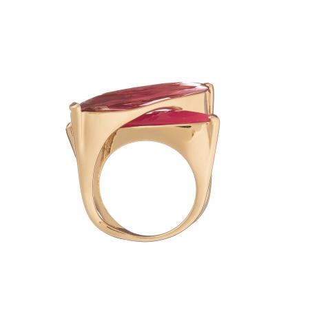 Prsteň Fine Exclusive Elegance Resin Stones in Fuchsia Gold