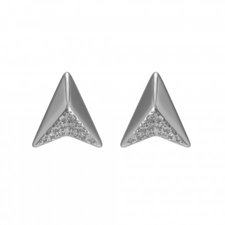Náušnice Modern Small Triangle Luxury Zircon Silver