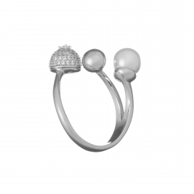 Prsteň Fine Elegant Zircon Crystals White Pearl
