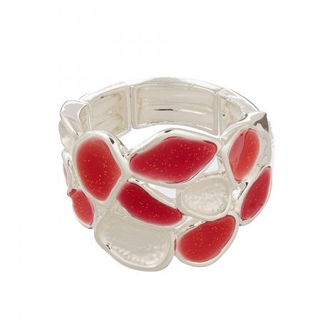 Prsteň Carola Red Silver Elastic