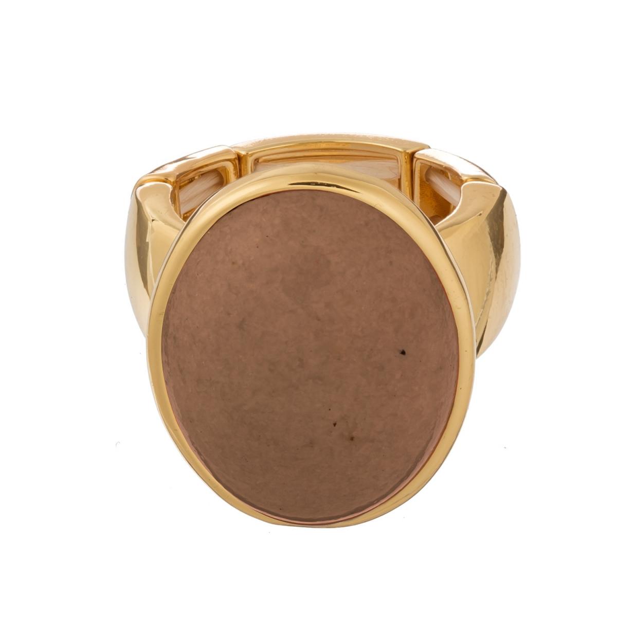 Prsteň Big Nude Oval Gold Elastic