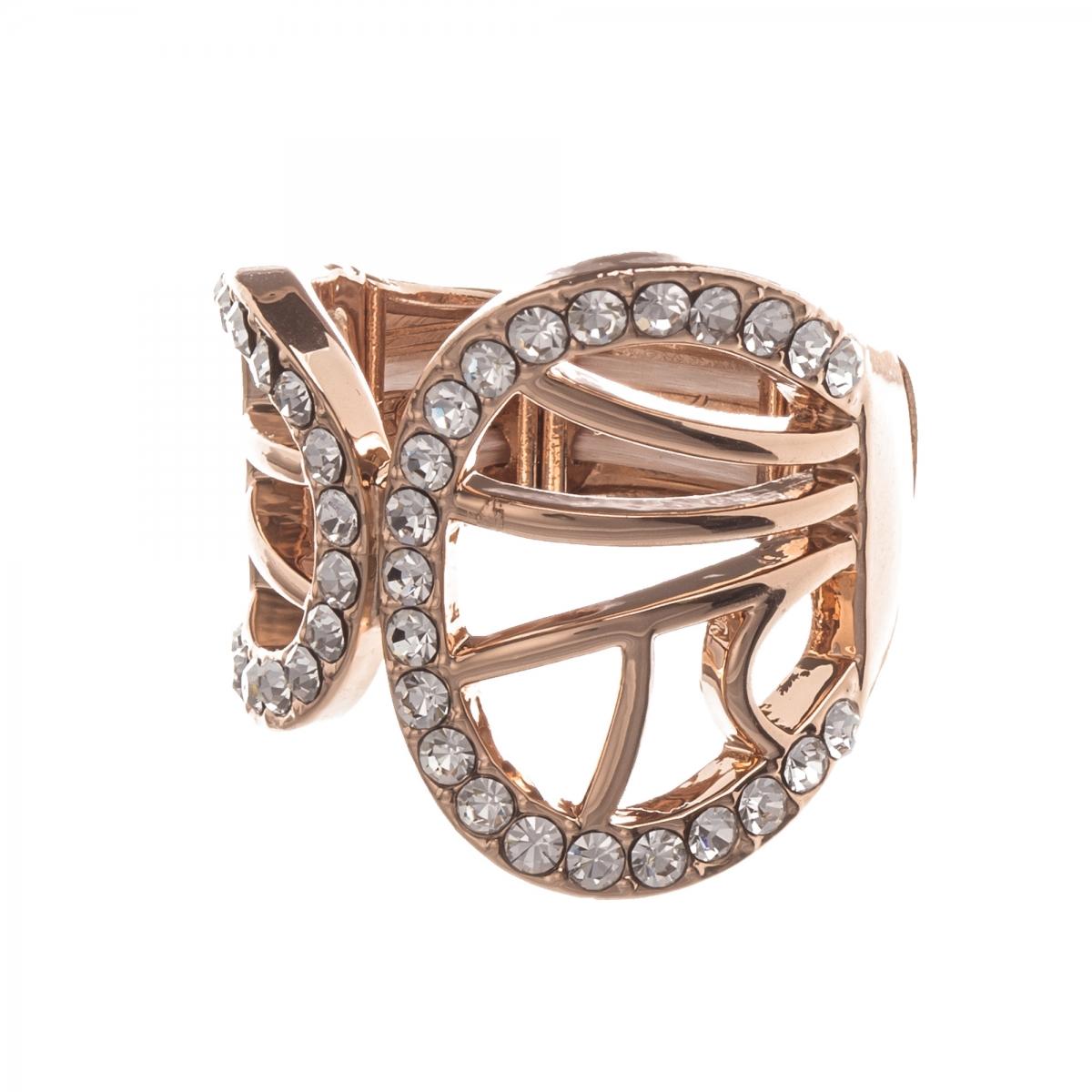 Prsteň Double Wave Crystal Rosegold