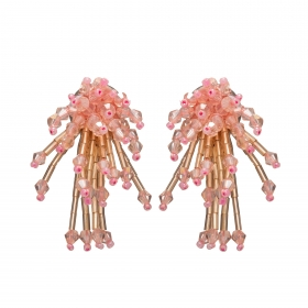 Náušnice Star Pink Metal Crystal Beads