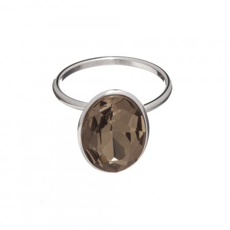 Prsteň Fine Exclusive Elegance Grey Satin Swarovski Crystal Silver