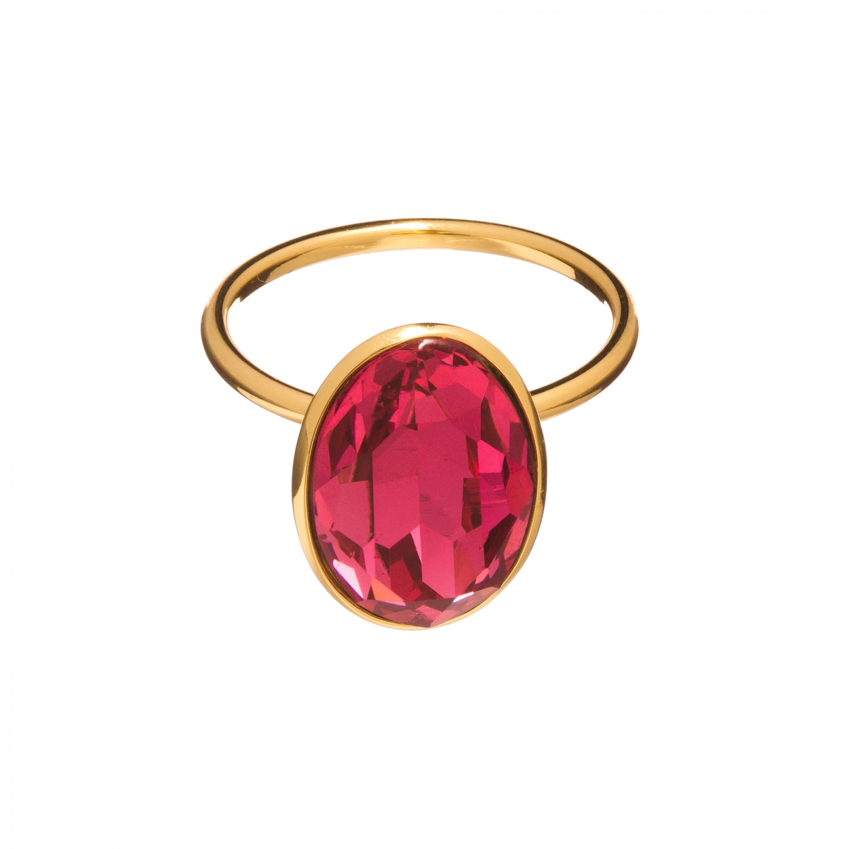 Prsteň Fine Exclusive Elegance Fuchsia Swarovski Crystal Gold