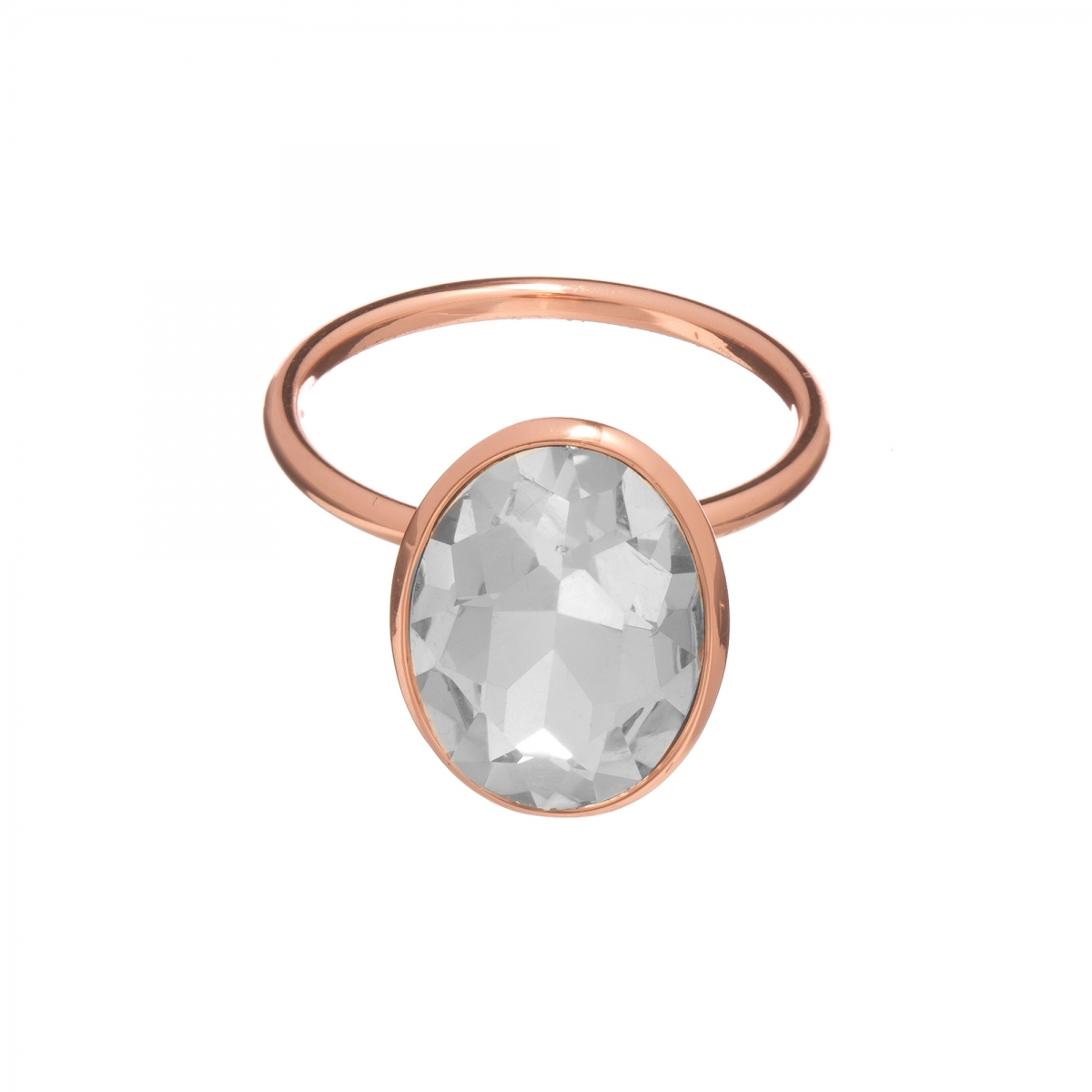 Prsteň Fine Exclusive Elegance Clear Swarovski Crystal Rose Gold