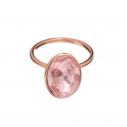 Prsteň Fine Exclusive Elegance Pink Swarovski Crystal Rose Gold