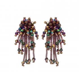 Náušnice Star Purple Metal Crystal Beads