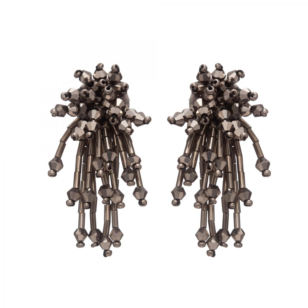 Náušnice Star Grey Metal Crystal Beads