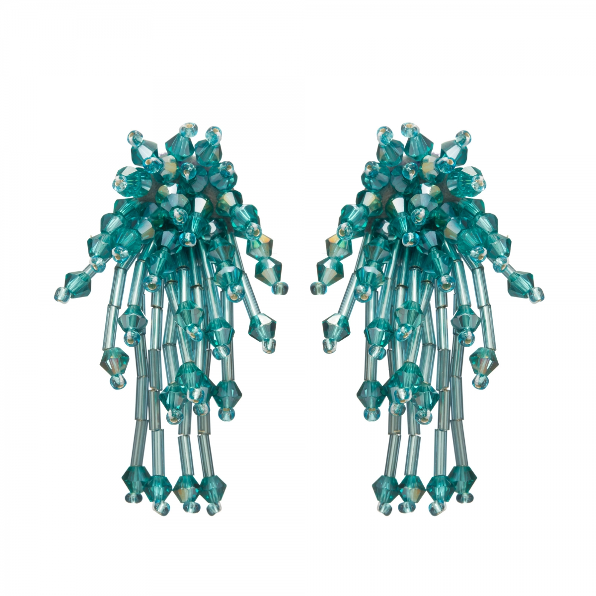 Náušnice Star Turquoise Metal Crystal Beads