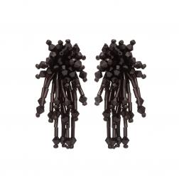 Náušnice Star Black Metal Crystal Beads