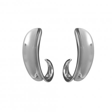 Náušnice Modern Design Half Circle Pin Silver