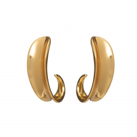 Náušnice Modern Design Half Circle Pin Gold