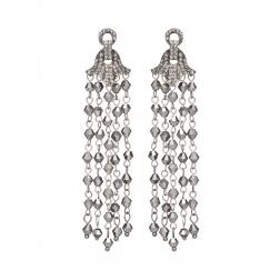 Náušnice Jena Grey Metal Crystal Beads