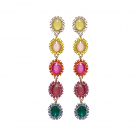 Náušnice Parrish Exclusive Elegance Colourful Crystals Gold
