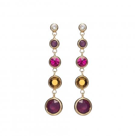 Náušnice Enna Fine Elegance Swarovski Crystals Purple Gold