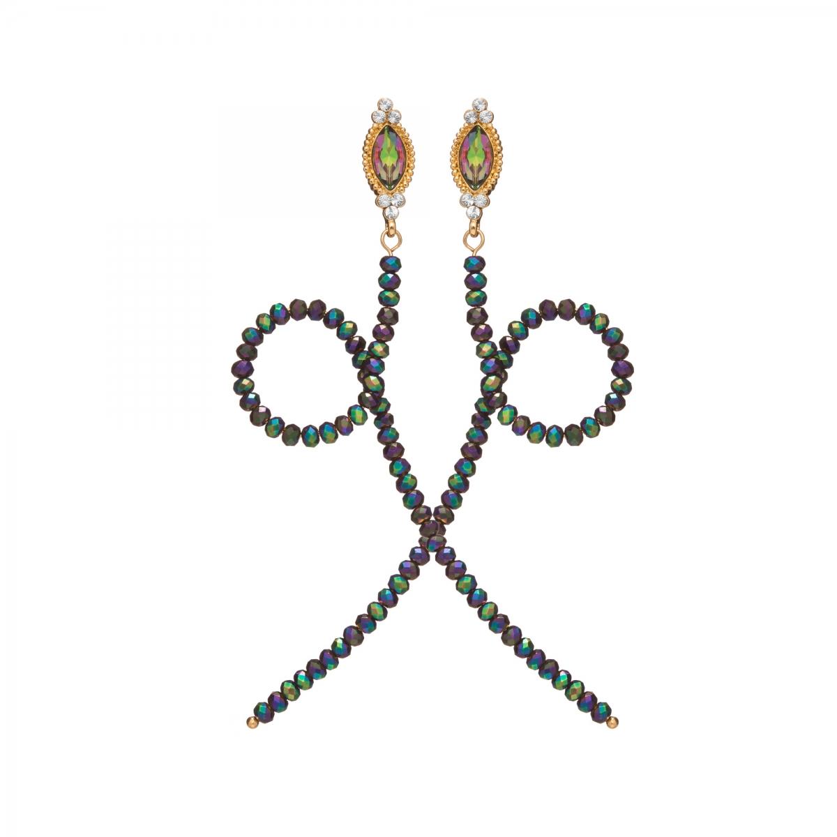 Náušnice Simple Fashion Snake Green Metal Crystal Beads