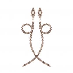 Náušnice Simple Fashion Snake Grey Metal Crystal Beads
