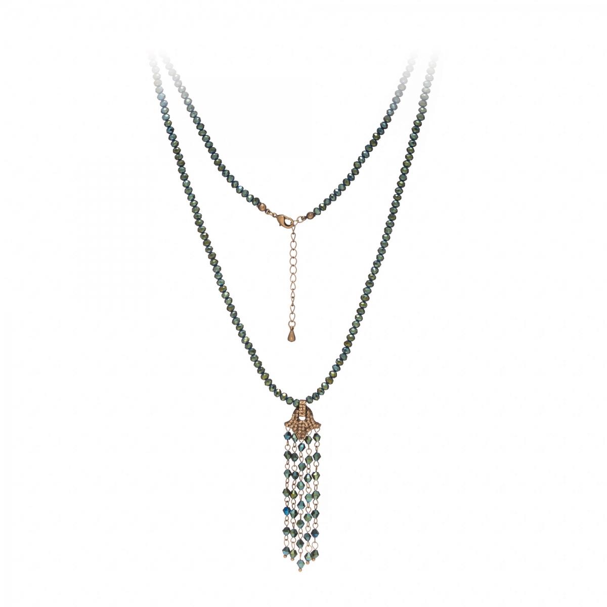 Náhrdelník Jena Green Metal Crystal Beads