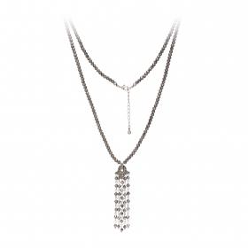 Náhrdelník Jena Grey Metal Crystal Beads