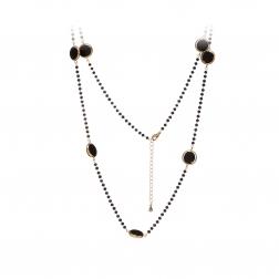 Náhrdelník Fine Elegance Mineral Black Onyx Crystals Gold