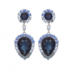 Náušnice Ruby Exclusive Elegance Dark Blue Crystals Silver