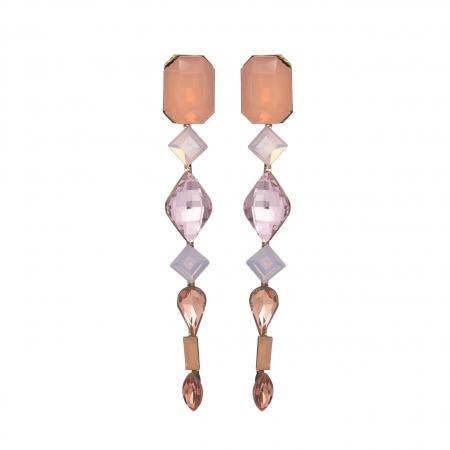 Náušnice Ava Fine Exclusive Elegance Vintage Rose Crystals Gold