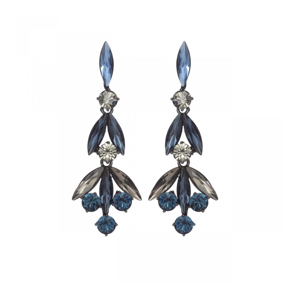 Náušnice Lilly Fine Exclusive Elegance Dark Blue Crystals Black Metal