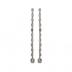 Náušnice Lena Fine Exclusive Elegance Grey Satin Crystals Silver