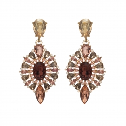 Náušnice Esra Exclusive Elegance Ruby - Peach Shadows Crystals Gold