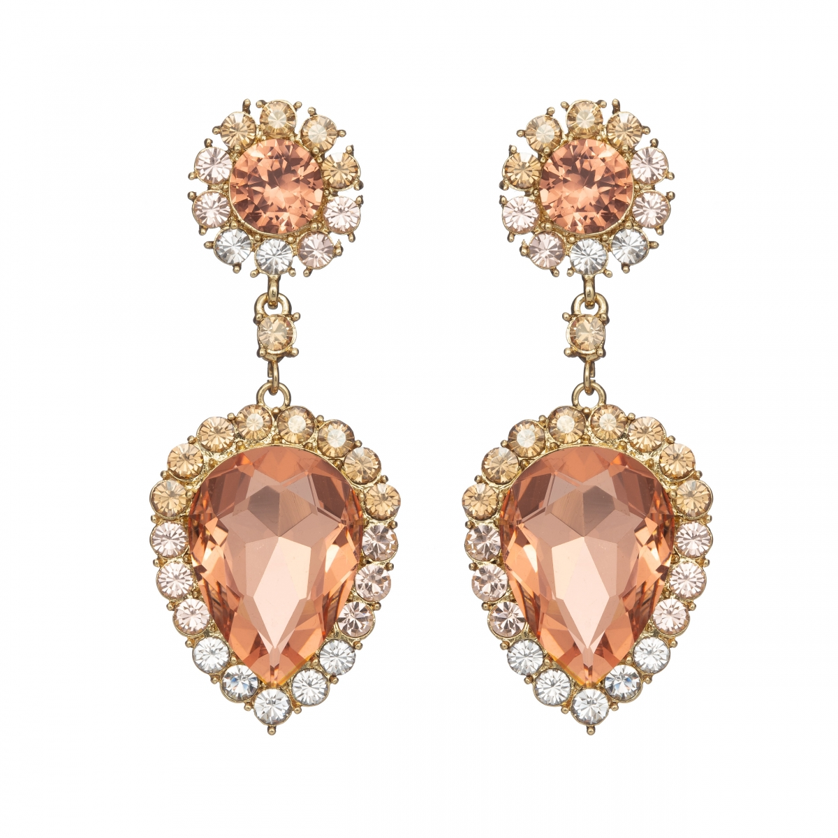 Náušnice Ruby Exclusive Elegance Light Peach Crystals Gold