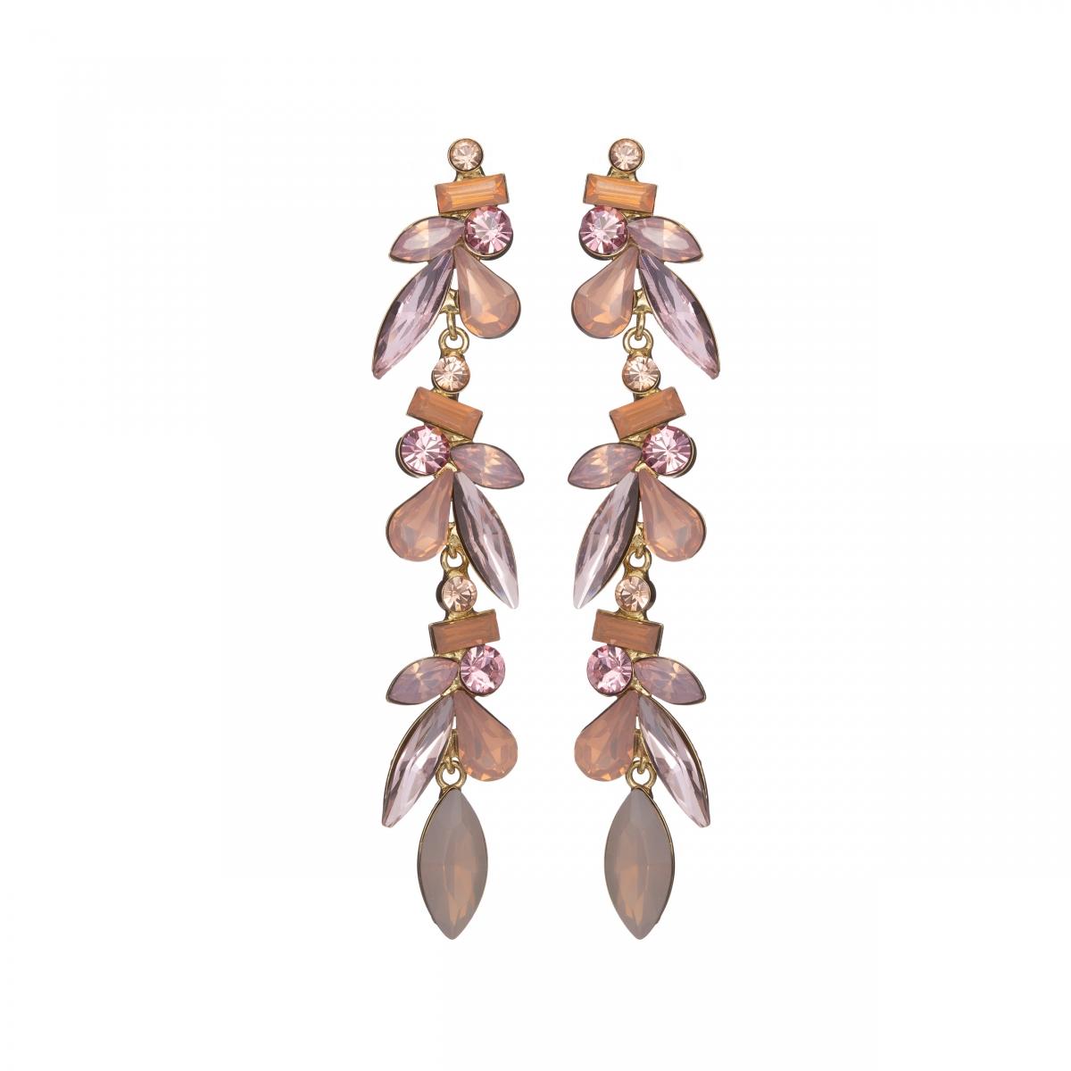 Náušnice Nina Fine Exclusive Elegance Vintage Rose Crystals Gold