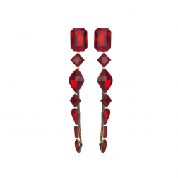 Náušnice Ava Fine Exclusive Elegance Red Shadows Crystals Gold