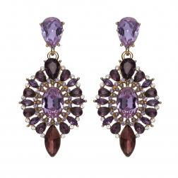 Náušnice Esra Exclusive Elegance Purple Shadows Crystals Gold